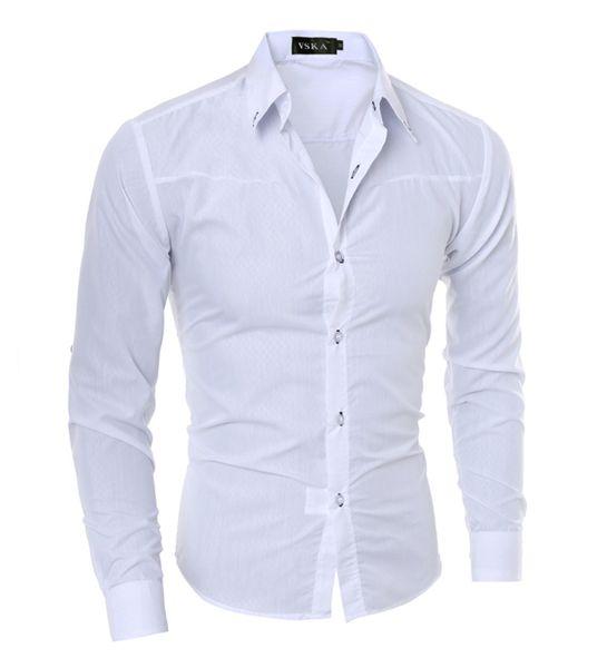 Camisa de hombre Nueva llegada Hombre Color sólido Cuello mandarín Esmoquin de negocios Camisa casual de manga larga Camisas de vestir de algodón M-5XL