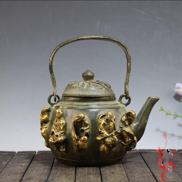 free shipping Marked Chinese FengShui Bronze Gilt 8 Immortal God Statue TeaPot Wine Pot Set