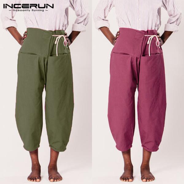 2019 Men Pants Harem Yoga-pants Trousers Wide Legs Male Pant Drop-Crotch Loose Baggy Elastic Waist Pantalon Hombre 5XL Clothes