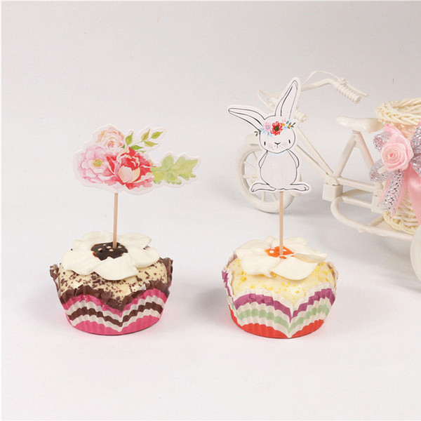 Paper Easter Party Supplies Cake Pick Cartoon Cupcake Decor Cute Wedding Inserted Cards Birthday Flowers 24pcs/set Toppers