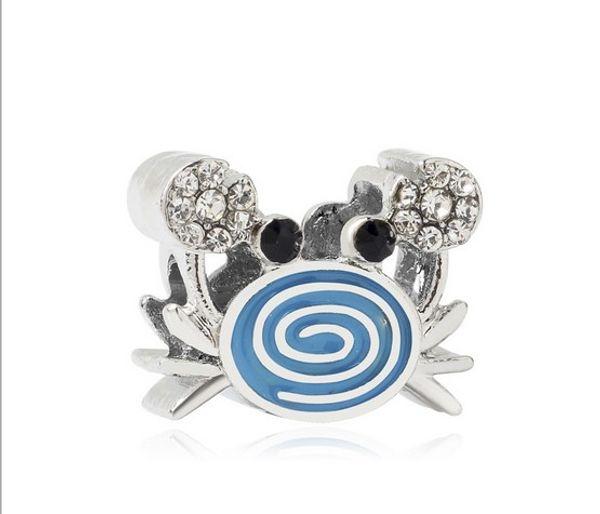 Adatto Bracciali Pandora 20Pcs Crab argento smaltato fascino tallone perline allentati per la vendita all'ingrosso gioielli fai da Sterling europea sul marchio donne di fascino