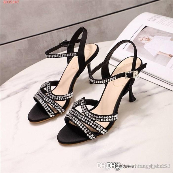New small water diamond Super shiny High-heeled sandals Buckle type Walking super stable Comfortable trend sandals