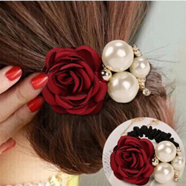 iMucci Fashion Women's Hair Ties with Faux Pearls Satin Ribbon Scrunchie Rose Flower Headband Ponytail Holder Hair Band girls