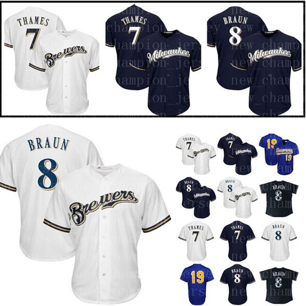 Men's Milwaukee Brewers 8 Ryan Braun Jersey 7 Eric Thames Baseball Jerseys 19 Robin Yount Stitched Cheap Sale
