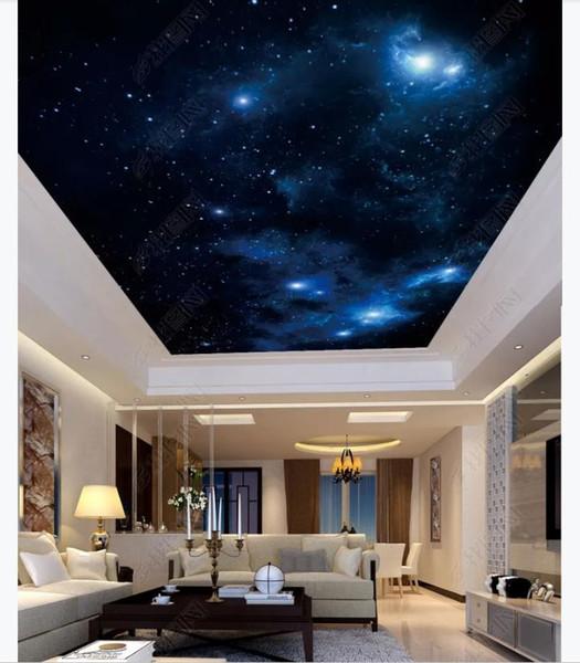 3D personalizado zenith mural papel de parede foto decoração de interiores Fantasia bela sala de estar estrelado zenith teto mural papel de parede para paredes 3d
