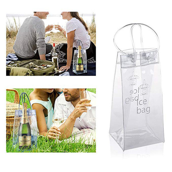 top popular Durable Clear Transparent Picnic PVC Champagne Wine Ice Pouch Cooler Bag with Handle YD0447 2021
