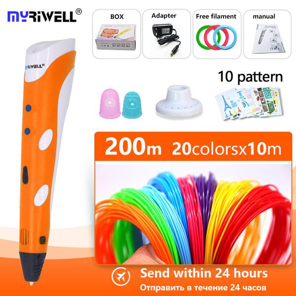 myriwell 3d перо v1 1.75mm абс нити пнула 3d печати пера-d Смарт Детского подарка на день рождения ABS пластик PLA ручка