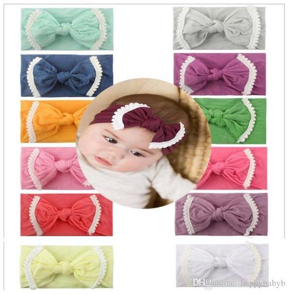 Neonata morbido nylon pizzo fascia Trim moda morbido di colore della caramella Boemia della ragazza dell'arco infantile testa di banda Accessori per capelli