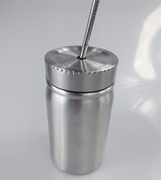Stainless Steel Mason Tumbler Double Walled Mason Jar Water Bottle With straw and Leak Proof Lid Vacuum Easy to carry