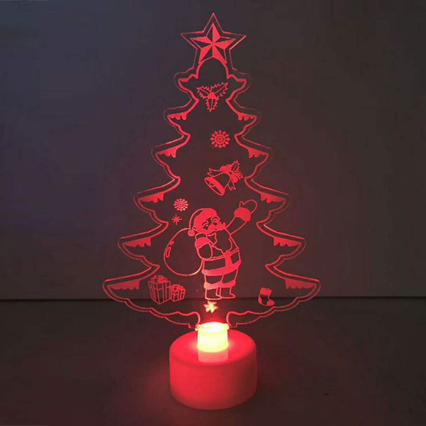 Lampe Veilleuse 15 * 8.8 * 3cm Tableau Décor Durable Couleur Changeante Arbre De Noël Arbre Ornements Mini Drop Shipping