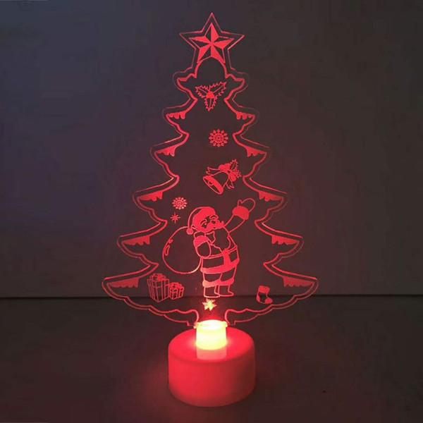 Night Light Lamp 15*8.8*3cm Table Decor Durable Color Changing Xmas Tree Acrylic Ornaments Mini Drop Shipping