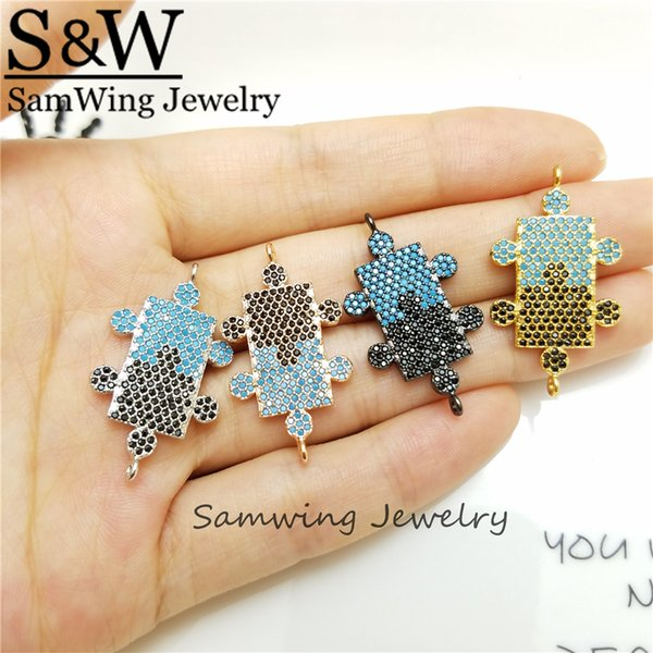 10 Piece Copper Sparkling Connector CZ Charm Fit Bracelet Jewelry Making Party Birthday Gift unique shape charm