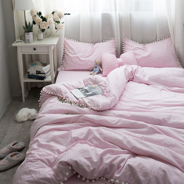 Rosa Weiß Gewaschener Baumwolle Tröster Bettwäsche-sets Weiche und Warme Pompon Spitze Prinzessin Bett Set Kissenbezug / Bettlaken / bettbezug 4 stücke