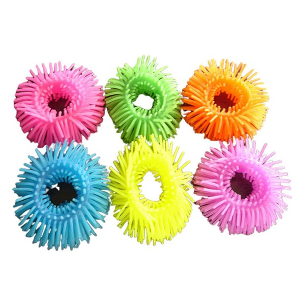 best selling TPR Soft Toys Stretch Spaghetti String Noodles Sensory Toy Furry Ball Bracelets Autism ADD ADHD Classroom Tools