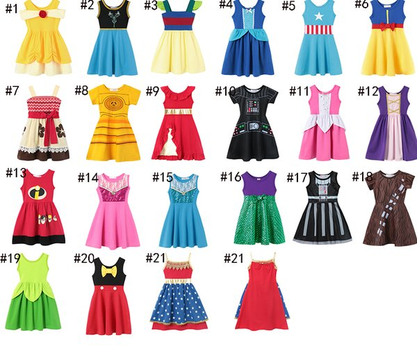 21 style Little Girls Princess Summer Cartoon Children Kids princess dresses Casual Clothes Kid Trip Frocks Party Costume AA1919