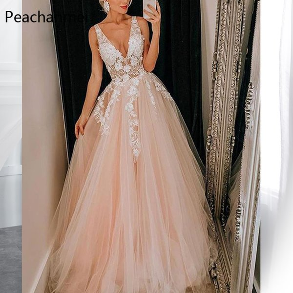 Şampanya Uzun Abiye Lange Robe De Soiree Seksi Örgün Düğün Parti Özel Durum Elbise 2019 Vestido de Festa