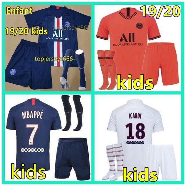 19 20 PSG kids Fußball Trikots ALL Paris Saint Germain NEYMAR JR MBAPPE CAVANI ICARDI ANDER HERRERA AIR JORDAN 2019 2020 Kinder Kits Sets Fußball Trikot Männer