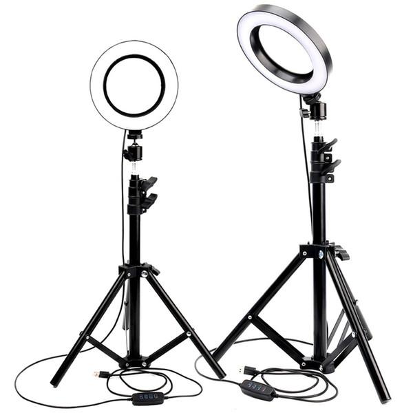 Anillo de luz LED Youtube Transmisión en vivo Maquillaje Luz de relleno Lámpara de anillo Selfie Iluminación fotográfica con trípode Soporte para teléfono Conector USB