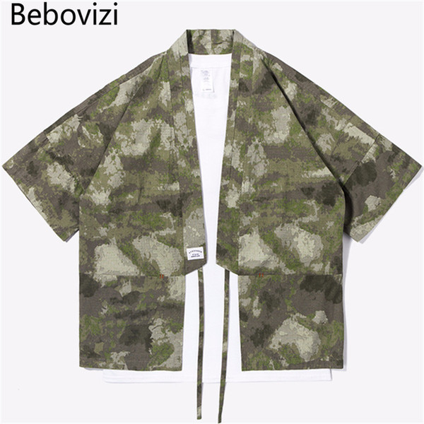 Bebovizi Brand New Designer Japanese Streetwear Style Mandarin Robes For Men Jackets Camouflage Mens Clothes Camou Kimono Shirt C19041301