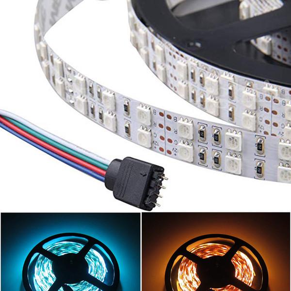 5M double rangée 5050 SMD 5M 600LEDs RGB LED bande souple corde Lumières 120LEDs / M étanche RGB Light Strip 12V DC