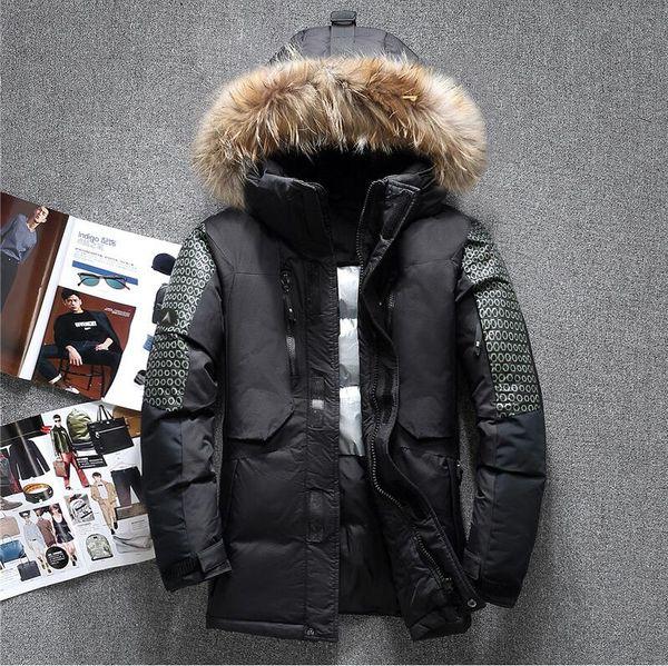 Großhandel Waschbären Verkauf Heißer Männer Kleidung Pelzkragen Mäntel Mode Hood Outdoor Wintermantel Daunenjacke Herren Echte Neueste Design nw8Nvm0