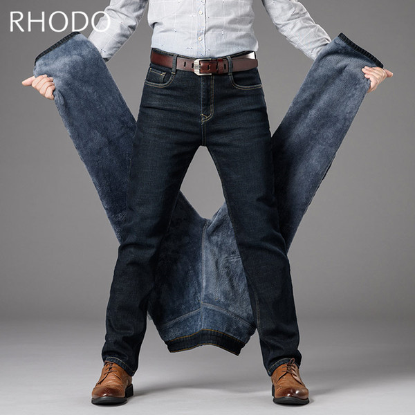 New Men`s Denim Hosen Retro Warm Verdicken Fleece Stretch Straight Jeans Business Hosen