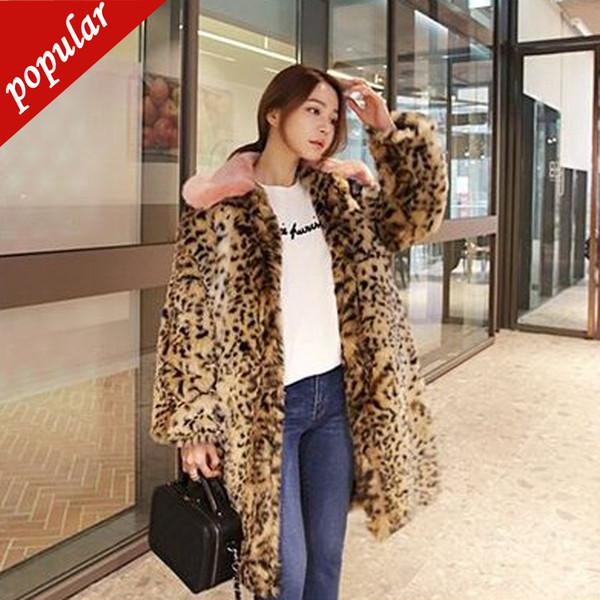 Осень зима мода леопарда с принтом пальто отложным воротником имитация женщины длинные куртки из искусственного меха W1215