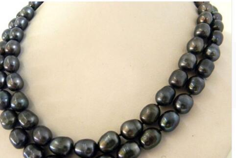 NEW 9-10mm baroque south sea black Natural pearl necklace 35""
