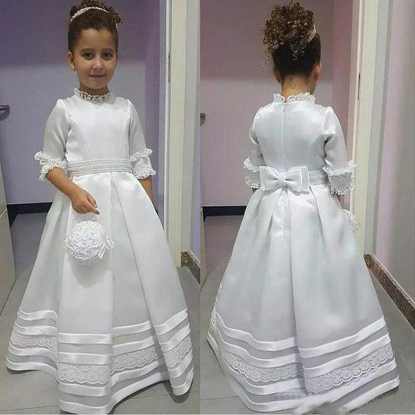 Modest White High Neck Mezze maniche Flower Girl Dresses 2019 Princess A Line Appliques Prima comunione indossa per bambini Toddler Formal Wear
