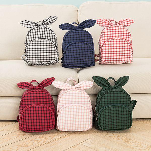 5styles kids plaid bowknot backpack rabbit ear student school bag travel party outdoor phone child backapck FFA2049