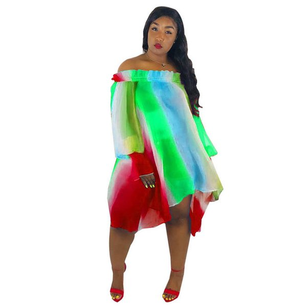 Irregular Colorful Printing Women Dresses Summer Slash Neck Long Sleeve Dress Stripe Gradient Ladies Casual Dresses