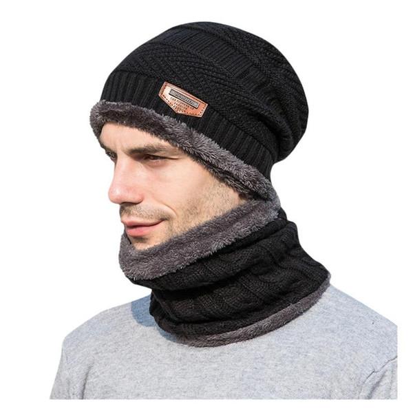 Bonnet tricot hiver Hat écharpe Ensembles hommes Bonnet de laine Chapeaux Velvet Épaissir tricotée plus Foulard Caps Set Skullies Silencieux @D