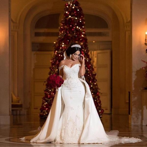 Elegantes vestidos de encaje de cuentas con desmontable de tren de la sirena del hombro Vestidos de novia apliques de Marfil vestido de novia