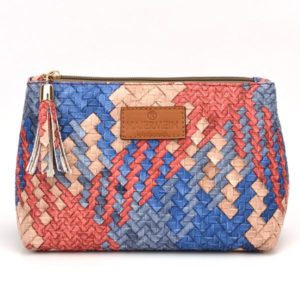 El color occidental del estilo tejió los bolsos cosméticos El color caliente de la caja 3 del maquillaje del viaje de las mujeres para elige el tamaño los 23 * 14 * 7cm