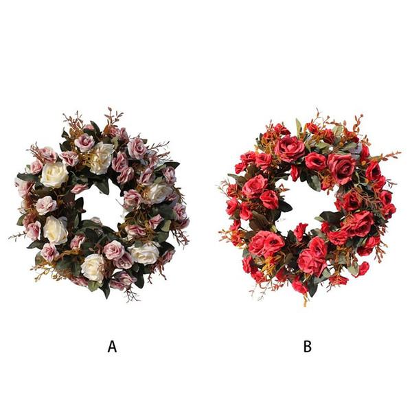 festa nuziale decorazione artificiale rosa corona di fiori tutto l'anello ghirlanda caldo partito romantico decorazione ghirlanda