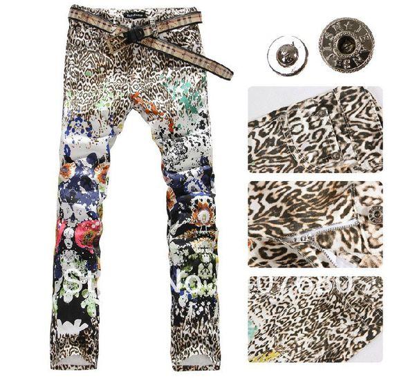 2016 Hot personnalité de vente peint jeans pour hommes imprimer léopard couleur dessin mince fleur mode nuit club pantalon 27-40