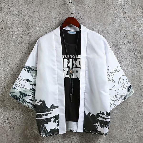 Erkekler Yaz Gevşek Pamuk Kimono Ceket Streetwear Açık Dikiş Yedi çeyrek Kollu Hırka Japon Tarzı Harajuku Ceket