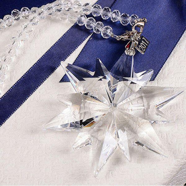 80*220mm Diy K9 Crystal Beautiful Snowflake Hanging Ornament Transperent Crystal Garden Suncatcher Christmas Tree Decoration Y19061103