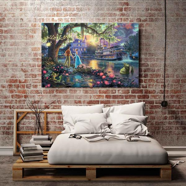 Thomas Kinkade - 14,1 Pieces Canvas Prints Mur Art Peinture à l'huile, Décoration d'intérieur (Sans cadre / Encadrée)