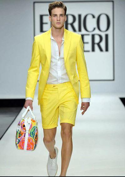 Hot Sell Yellow Peak Lapel Mens Coat Short Pants Summer Prom Dress Blazer Business Suits (Jacket+Pants) NO:1790