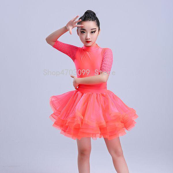 2019 new models High quality new girls Latin dance costumes children fringe sequin children Latin practice examination suit