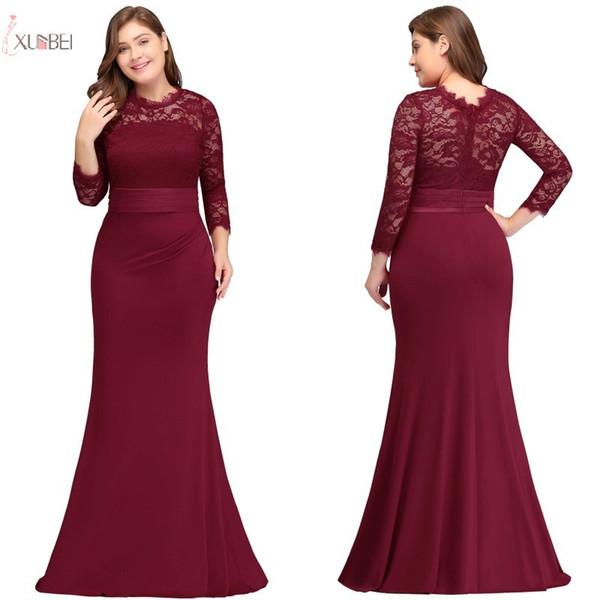 2019 Plus Size Langes Abendkleid Mermaid Scoop Neck Dreiviertel-Ärmelkleid robe de soiree
