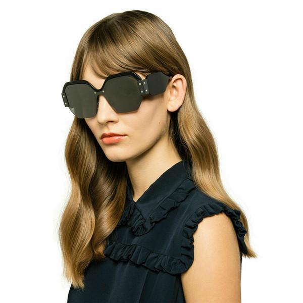 2019 SıCAK SMU 09 S Güneş Gözlüğü Lüks Kadın Tasarımcı Popüler Moda Kare Büyük Yarım Çerçeve Güneş Gözlüğü Moda Kadın Stil Pembe Kılıf Ile Gel