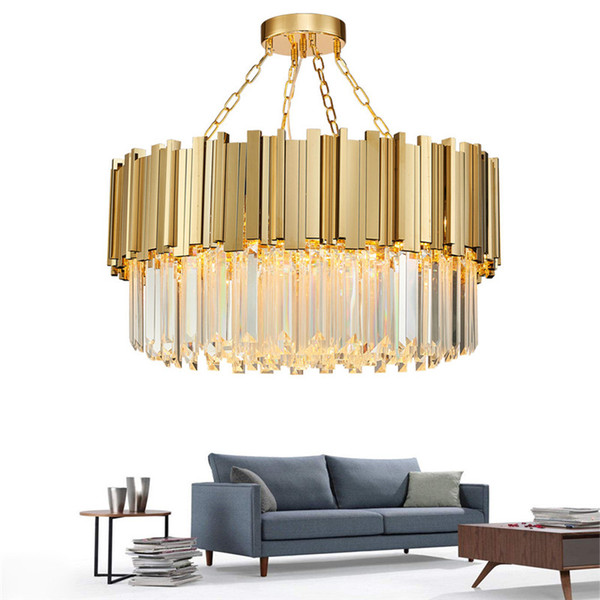 Modern Crystal Lamp Chandelier For Living Room Luxury Gold Round Stainless Steel Chain Chandeliers Lighting