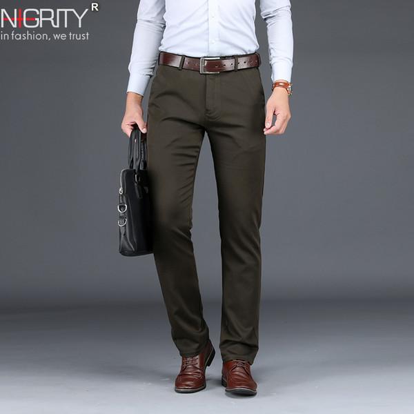 nigrity 2019 new arrivals mens casual pant light stretch elastic regular cutting pant black khaki blue men's size 29-40