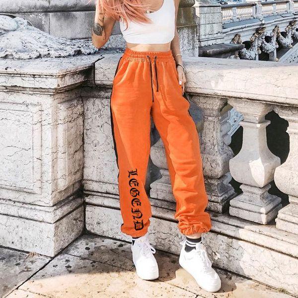 Women Loose Sweatpants Harajuku Trousers 2018 Autumn Female Orange Letter Printed Joggers Pants Hip Hop Dance Pants Plus Size Y19070101