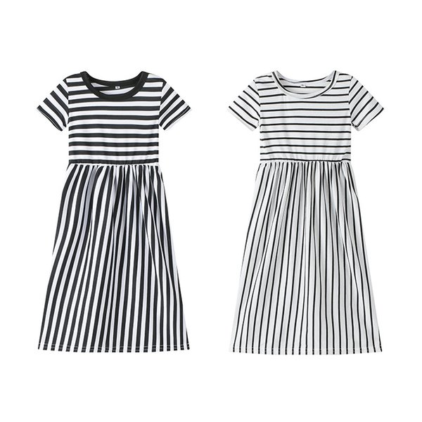 2019 New baby girl dresses Children Cotton Stripe Princess prom Dresses kids designer clothes girls Casual beach plus size long maxi dresses