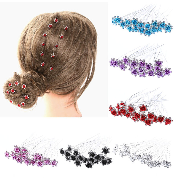 NEW 20Pcs/Lot Women Wedding Bridal Hairpins Crystal Rhinestone Rose Flower Hairpin Hair Clips Hair Styling Accessories G0315