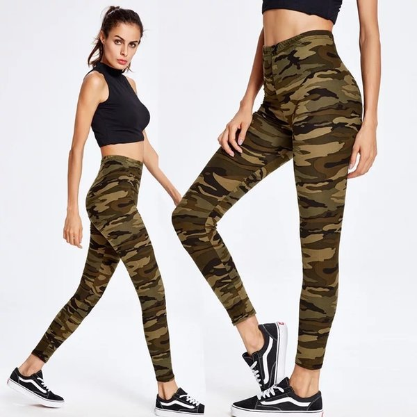 Yoga Sport Leggings Green camouflage Training pants Pants Gym Clothes Running Training Tights Women for Plus size Fitness pants #180449