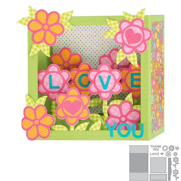 Flower Box Card Metal Cutting Die Silver Stencil For Scrapbooking Album Photo Template Paper Cards Handcrafts New Embossing